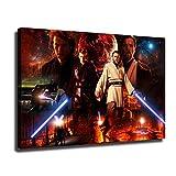 YHML Póster de lienzo de Star Wars Obi-Wan Kenobi y Anakin Skywalker moderno arte de decoración de pared impresión HD pinturas de pared 50 x 30 pulgadas enmarcado
