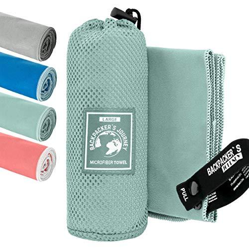 Backpacker's Journey Mikrofaser Handtücher in S M L XL. Reisehandtuch Sets leicht, schnelltrocknend, saugfähig und antibakteriell (türkis L&M)