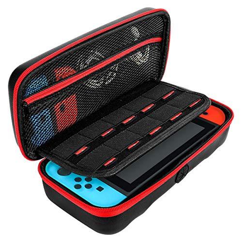 Étui pour Nintendo Switch, Slopehill Housse Rigide de Rangement Zippée en Matériau Durable Anti-Choc Étui de Transport pour Console Nintendo Switch et Ses Accessoires - Noir