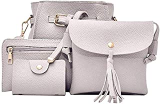 SODIAL 4Pcs Women Handbag Bags Set Synthetic Leather Clutch Purse Shoulder Messenger Bag, Pink