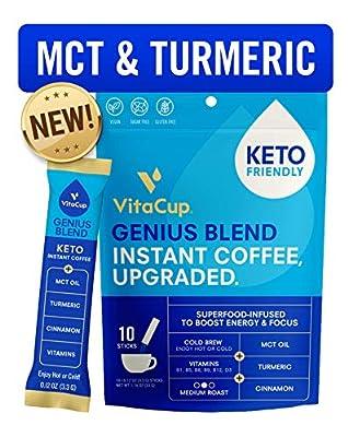 VitaCup Genius Instant Coffee Stick | Energy & Focus | Keto | MCT, Turmeric & Cinnamon | Vegan | Vitamins B1, B5, B6, B9, B12, & D3 | Enjoy Hot or Cold by VitaCup