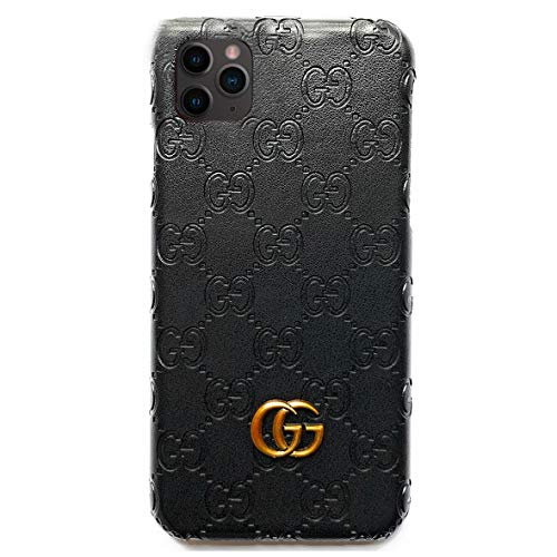 TOMSBERY Luxury Leather Phone Case Letter G Mobile Phone Protective Cover for iPhone 11 Pro Max-Black