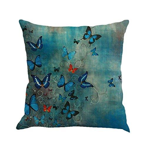 Fossrn Fundas Cojines 45x45 Decorativo Patrón de Mariposa Funda de Cojines para Sofa Jardin Cama (01)