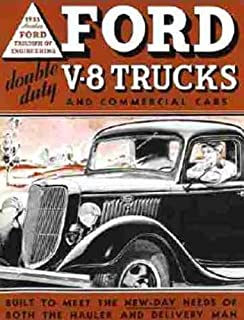 1935 FORD V8 TRUCK & PICKUP BEAUTIFUL DEALERS SALES BROCHURE - ADVERTISEMENT INCLUDES: panels, stake bodies, platform trucks, dump trucks, panel delivery, sedan delivery and station wagon 35