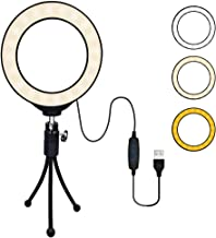 "B-Qtech LED Ring Light 4"" with Tripod Stand for YouTube Video, Makeup and Live Streaming, Mini LED Camera Light Desktop LED Lamp with 3 Light Modes & 10 Brightness Level"
