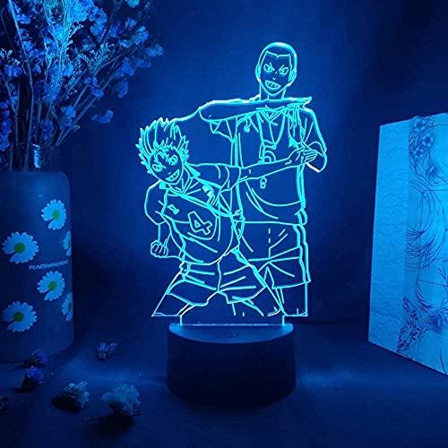 3D anime ilusión lámpara led noche luz haikyuu acción estatuilla Ryunosuke tanaka vs Yu nishinoya anime lámpara de mesa hasta manga arte decoración de la casa USB