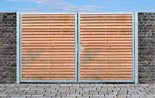 Elektrisches Einfahrtstor Qs Tor Holztor Gartentor Hoftor Verzinkt mit Pfosten & Holzfüllung 2-flügelig 400cm x 180cm