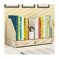 TEAYASON 本棚2層デスクトップ本棚仕分けオーガナイザーオフィス収納ラック、引き出し付き学生本棚、木製ディスプレイ棚本棚(色:黒),白い