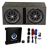 KICKER 2 43C124 600W 12' Subwoofers + Vented Lined Box Enclosure + Amp + Wire