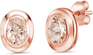 1.30 Ct Oval 7x5mm Peach Morganite 18K Rose Gold Plated Silver Stud Earrings