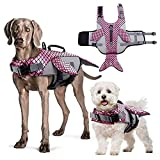 IDOMIK Dog Life Jacket Ripstop Safety Vest Floatation Preserver Coat for Small Middle Large Dogs, Reflective Adjustable Whale Lifesaver Swimsuit with Rescue Handle for Swimming Pool Beach Boating (M)