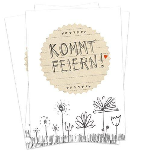 50 Einladungskarten - Kommt feiern! - Weiß Grau Beige mit Blumenwiese, vielseitige Einladungen für deine Hochzeit, Geburtstag, Jubiläum auf Recyclingpapier