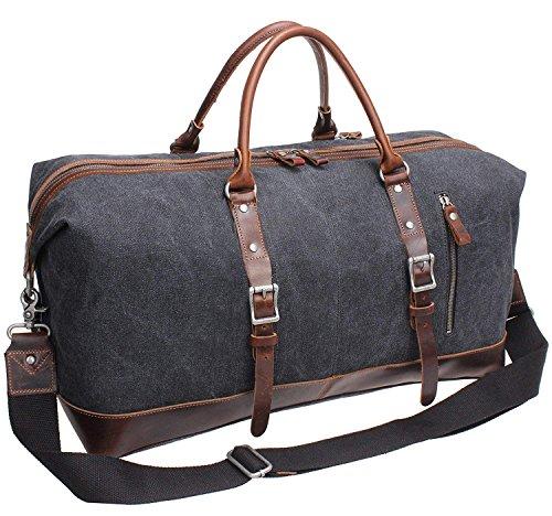 IBLUE Oversized Canvas Genuine Leather Trim Travel Tote Duffel Shoulder Weekend Bag Weekender Overnight Carryon Handbag Durable Bag (grey)