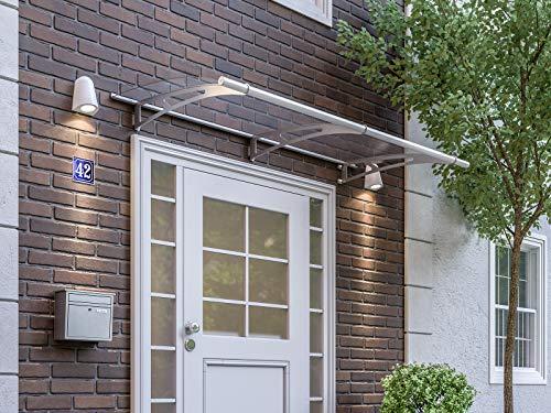 SCHULTE Vordach Haustür Überdachung 200x95 cm Edelstahl rostfrei Acrylglas durchgehend und transparent Pultvordach LT-Line