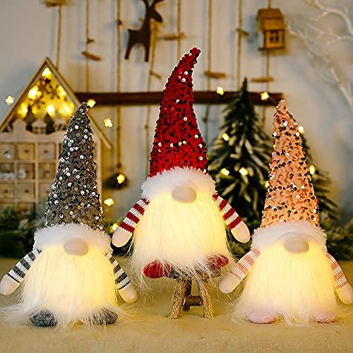 DADEA 3 luces de decoración de gnomo navideño, hechas a mano con lentejuelas suecas sombrero escandinavo Nisse Santa, vacaciones iluminan decoraciones de gnomo de Navidad para decoraciones de Navidad
