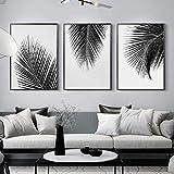 nobrand Cuadro minimalista de hojas en blanco y negro con diseño de plantas tropicales, impresión artística de pared para salón, decoración del hogar, 40 x 60 cm, sin marco
