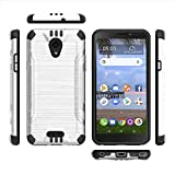 Alcatel Insight/Alcatel TCL A1 A501DL (Cricket/Tracfone) Phone Case Accessory Soft White Brushed Metal Design Cover with Chrome Buttons and Metal Plate (Inside) for Any Magnetic Mount