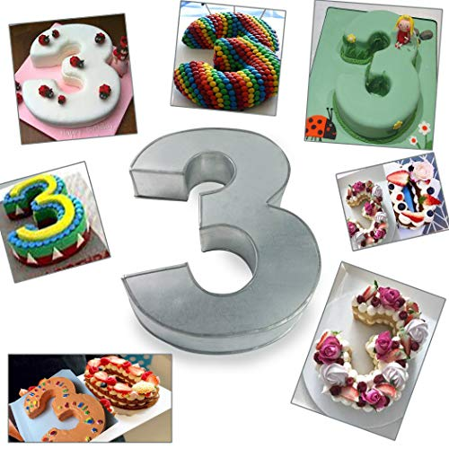 Large Number Three Birthday/Wedding Anniversary Cake Tins/Pans/Mould 14' x 10' x 3' Deep