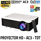 Vidéoprojecteur Full HD 1080P, Unicview HD200 (2019 nouveau), Projecteur de Cinéma Maison LED 1920x1080 AC3 2 x HDMI 2 x USB...