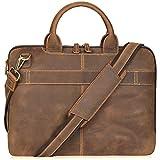 Jack&Chris New 14' Men's Lawyer Briefcase Laptop Bag Leather Messenger Bag (MB004B)