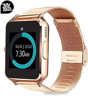 MyTECH Smartwatch Z60 Reloj Celular con Extensible de Metal Bluetooth con Cámara para iPhone Android (Dorado)