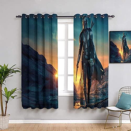 S-Tar W-ars - Cortinas de oscurecimiento para habitación aislante, 213,4 cm de largo, para decoración de habitación infantil (84 x 84 pulgadas)