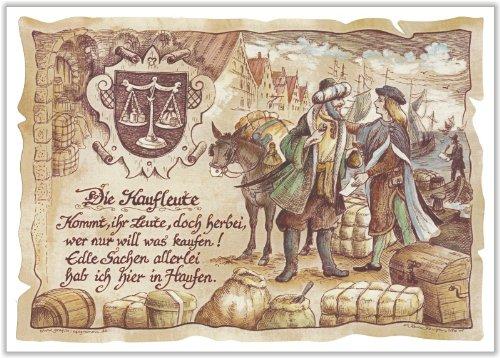 Geschenk Kaufleute Kaufmann Präsent Zeichnung Color 20 x 15 cm
