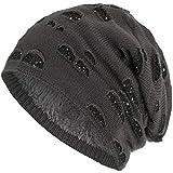 Compagno Beanie Gorro de invierno con suave interior punto agujero elegante con lentejuelas, Color:Gris