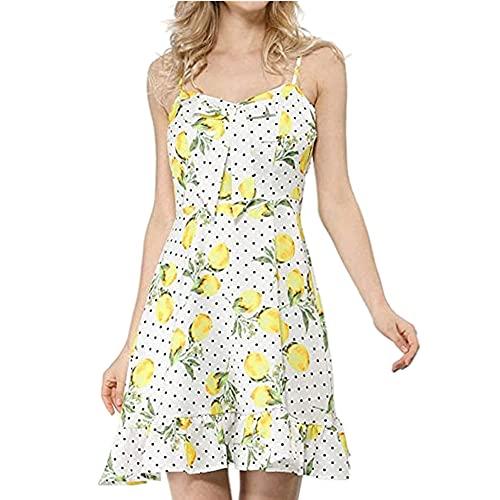 N\P Vestido de verano honda con cuello en V de limón con estampado de volantes