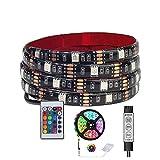 Tira de luz 5050 de 5 V con colorida lámpara RGB Nº 5 con luz de fondo de TV Mando a distancia de 24 teclas para decoración del hogar (Color emisor: IR 24 teclas RGB Set, longitud: 2 m)