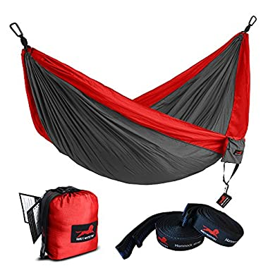 HONEST OUTFITTERS Single Camping Hammock With Basic Hammock Tree Straps,Portable Parachute Nylon Hammock for Backpacking travel Red/Charcoal 55  W x 108  L