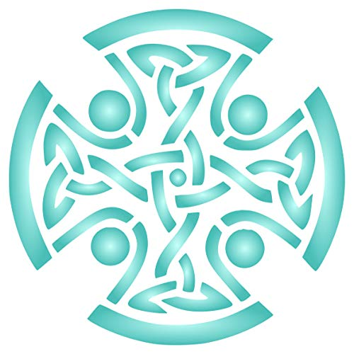 Celtic Cross Stencil, 6.5 x 6.5 inch (L) - Religious Tribal Knotwork Wall Stencils for Painting Cards