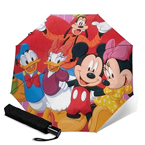 Paraguas de Minnie Mouse triple plegable que abre y cierra automáticamente la protección UV de viaje plegable y cómodo de llevar