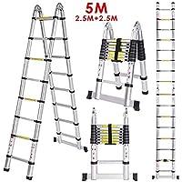Meditool 5M Escalera Plegable Aluminio,2,5M+2,5M Escalera Telescópica, Escale...