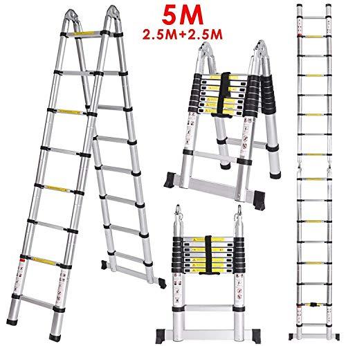 Meditool 5M(2,5M+2,5m)Escalera plegable aluminio,Escalera Telescópica,Escalera plegable,16 Escalones Antideslizantes, 150kg