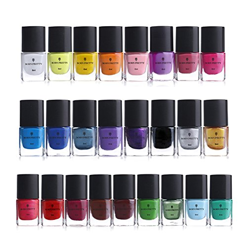 BORN PRETTY 6ml Nail Art Stamping Polish Colourful Manicuring Plate Printing Polish Varnish 25 Colors Set