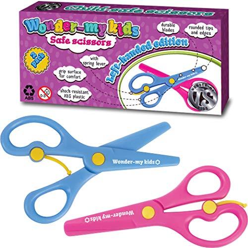 Left Handed Kids Scissors   School Scissors, Preschool and Kindergarten Use - Plastic Blunt Tipped Kid and Toddler Safety Craft Scissors for Left Handed Cutting - Pink and Blue Kid Scissors Pack