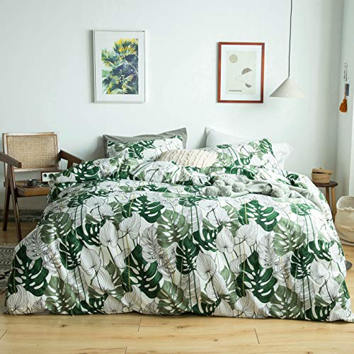 YuHeGuoJi 3 Pieces Duvet Cover Set 100% Cotton Queen Size Green Leaves Bedding Set 1 Tropical Botanical Pattern Duvet Cover with Zipper Ties 2 Pillowcases Luxurious Quality Soft Lightweight Durable