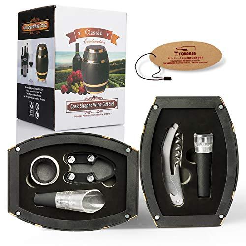 Yobansa Set di Accessori da Vino a Forma di Botte di Vino, Accessori per Il Vino - Include cavatappi, Tappo per Vino, versatore per Vino (Barrel 01)
