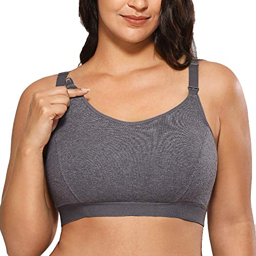 Gratlin Women's Full Support Comfort Plus Size Cotton Maternity Nursing Bra Charcoal Heather 4X-Large