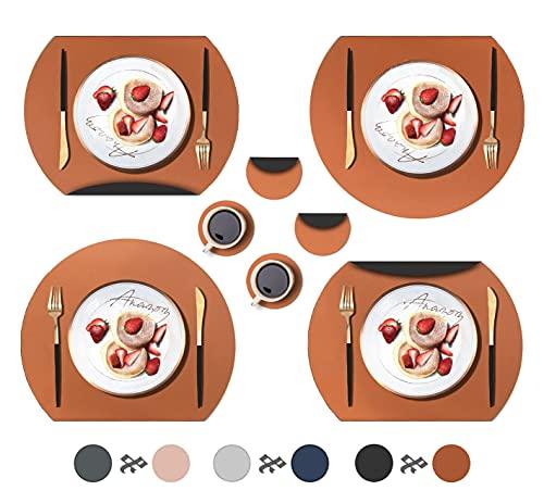 ANAZOZ Set di 4 tovagliette all'americana moderna, in ecopelle, bicolore, con 4 sottobicchieri, semicircolare, arancione, marrone, nero