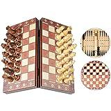 Juego de Ajedrez Magnético 3 en 1 Damas Backgammon Dados Tablero de Ajedrez Plegable con Piezas Magnéticas