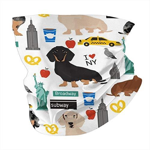 Art Fan-Design - Pasamontañas unisex de microfibra, diseño de perro salchicha de Nueva York, color blanco reutilizable y transpirable