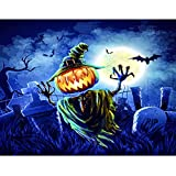 5D Halloween Diamond Painting Kits for Adults 12x16Inch, DIY Diamond Painting Dotz Full Round Drill Embroidery Cross Stitch Arts Craft Canvas Crystal Halloween Decoration for Home Pumpkin Haunted Tree