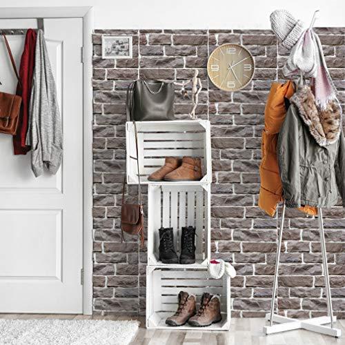 Stafeny Pegatinas de pared con aspecto de piedra 3D, adhesivo para pared, vinilo adhesivo de ladrillo de PVC, decoración de azulejos a prueba de aceite, mesa de dormitorio y cocina.