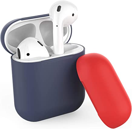 AhaStyle Two Toned AirPods Case Cover Silicone for Apple AirPods 2 & 1(Body-Navy Blue/Top-Navy Blue,Red)