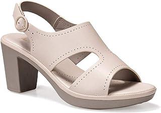 Damesschoenen, Boheemse sandalen, Dames Lederen bekleed Peep Toe Mid Wedge Hak Slip op Muilezels Sandalen-Beige_EU 39