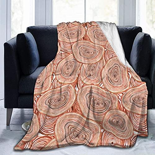 Manta de Felpa Suave Cama Anillos de árbol de Acuarela Manta Gruesa y Esponjosa Microfibra, Suave, Caliente, Transpirable para Hogar Sofá , Oficina, Viaje