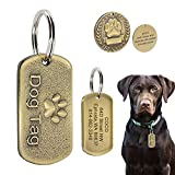 Beirui Military Spec Stainless Steel Pet ID Tags - Personalised Dog Tags with Engraved Name+Number+Address - Copper Embossed Pet Tags Fits Medium Large Dogs, Dog Paw