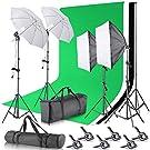 Neewer Actualizado Sistema Soporte Fondo 2,6x3 Metros / 8,5x10 Pies con Softbox 800W 5500K y Kit de Iluminación Continua para Productos Estudio Fotográfico, Retrato y Video (Fondo de Tela Nuevo)